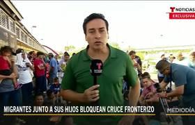 Protestas de inmigrantes en puente fronterizo