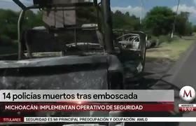 Las patrullas de la policía tras emboscada en Aguililla, Michoacán