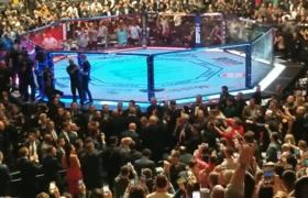 La entrada de Trump al Madison Square Garden a la lucha de la UFC 244
