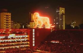 #VIRAL: AWESOME STUDENTS LA PLATA !! A LION OF FIRE IN THE STADIUM - INAUGURATION