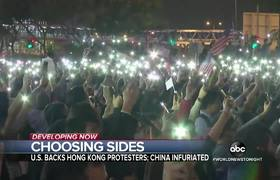 Thousands of protesters wave American flags in #HongKong