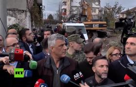 Earthquake interrupts the president of Kosovo