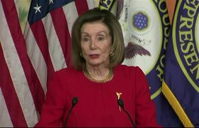 Nancy Pelosi speaks after approving the articles of political trial against Donald Trump.
