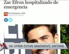 Zac Efron sick from getting a dangerous bacteria