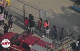 Airplane in Los Angeles spills fuel in a schoolyard