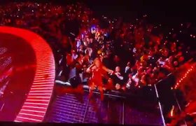 Shakira crowd surfing at the SuperBowl Halftime Show