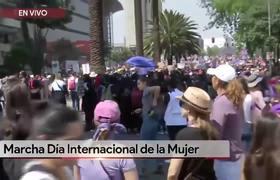 Encapuchadas protestan en la marcha por el Día Internacional de la Mujer