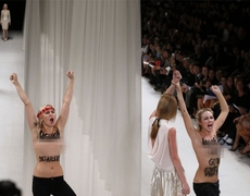 Model HollieMay Saker furious after topless protesters ruin Paris Fashion Week show