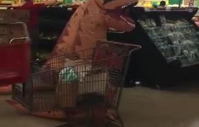 Texas Family Dressed in Dinosaur Costumes Brings Smiles to Grocery Shoppers During #Coronavirus