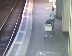 Shocking Video Moment train hits trolley that was deliberately pushed on tracks