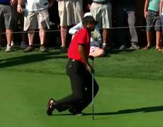 Tiger Woods falls to knees