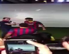 Neymar falls during an event in Thailand