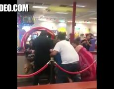 Crazy Woman With Baby Starts Brawl Inside Chuck E Cheese