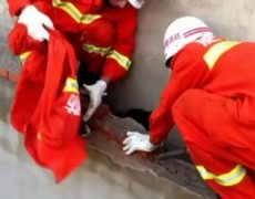 Firefighters save woman stuck between two walls in China
