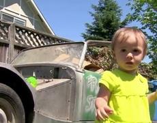 1 year old girl buys a 1962 model car in Oregon