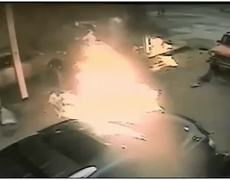 Dramatic CCTV Video Car Plows Into Gas Station EXPLOSION At Pump MAN ON FIRE on Tennessee