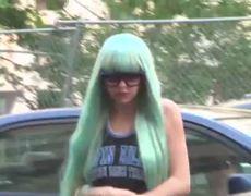 Amanda Bynes Arrives for Court in Aqua Wig