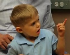 3yearold boy hears for the first time