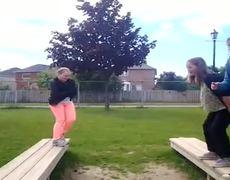 Girl bench jumping fail