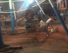 OMG Mans muscle make a ferris wheel work in Myanmar