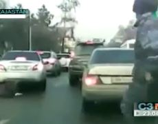 Woman comes alive after being dragged by the vehicle by her boyfriend in Kazakhstan