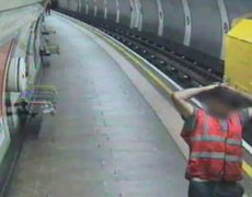 Raw CCTV shows tube worker jumping from runaway train in London