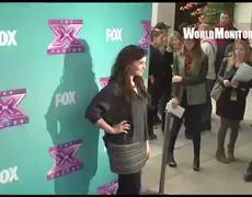 Press conference Demi Lovato arrives at The X Factor Season 2 Finale 2012
