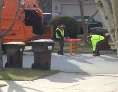 Funny Foosball playing sanitation workers