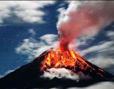 Eruption of Tungurahua volcano in Ecuador