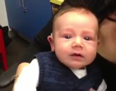 Miracle 7weekold boy tries hearing aids for the first time