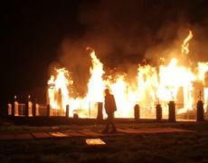 Buckingham Palace goes up in flames