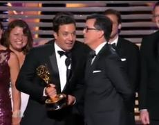The Emmy Awards 2014 Jimmy Fallon Gives Stephen Colberts Emmy Acceptance Speech For Him