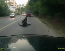 Woman falls asleep on scooter and hits truck