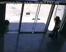 Funny Girl Walks Into Glass Door
