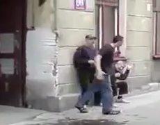 Crazy man vs Grandfather fight