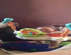 Cute baby plays sleeps