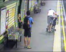 CCTV Mom Saves Baby From Train Tracks in London