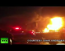 Video of huge fire after California crash