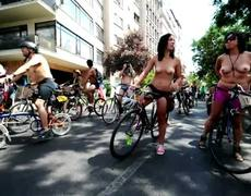 Naked Bike Riders in Santiago of Chile