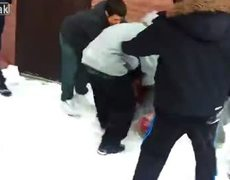 Helpless asian man attacked and jumped by 7 others behind school