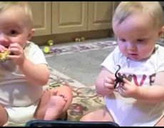 Baby Twins Make Fun Of Dads Sneeze