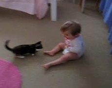 Bebé atacado por un gatito