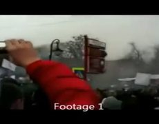 UFO hovering over russian protesters