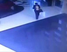 CCTV Woman goes swimming while texting
