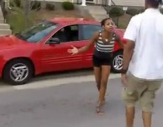 Angry woman breaks her LEG with the car door.