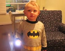 Lil' Batman Is Going To Fight Crime With His Muscles