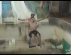 Double Suicide slide into empty pool