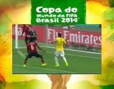 Worlc Cup Brazil 2014 Neymar suffers fall in celebration of the goal Brazil 10 Colombia