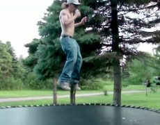Best Video Of A Redneck With A Mullet Chugging A Beer While Jumping On A Trampoline In Slow Motion You'll See Today