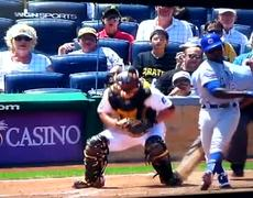 Umpire takes a painful foul ball